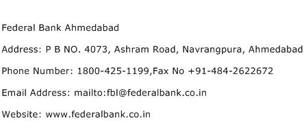 Federal Bank Ahmedabad Address Contact Number