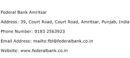 Federal Bank Amritsar Address Contact Number