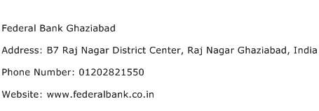 Federal Bank Ghaziabad Address Contact Number