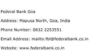 Federal Bank Goa Address Contact Number