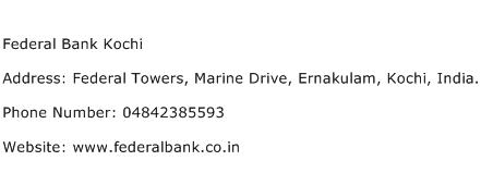Federal Bank Kochi Address Contact Number