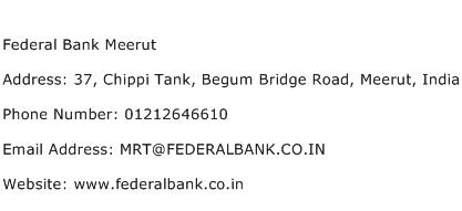 Federal Bank Meerut Address Contact Number