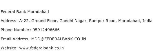 Federal Bank Moradabad Address Contact Number