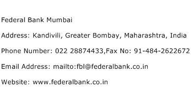 Federal Bank Mumbai Address Contact Number