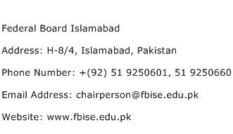 Federal Board Islamabad Address Contact Number