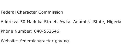 Federal Character Commission Address Contact Number