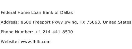 Federal Home Loan Bank of Dallas Address Contact Number
