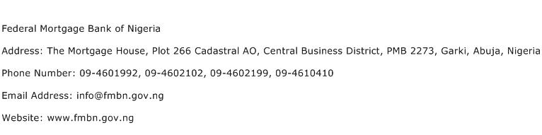 Federal Mortgage Bank of Nigeria Address Contact Number