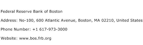 Federal Reserve Bank of Boston Address Contact Number