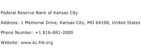 Federal Reserve Bank of Kansas City Address, Contact Number of