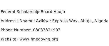 Federal Scholarship Board Abuja Address Contact Number