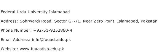 Federal Urdu University Islamabad Address Contact Number