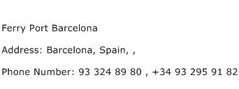 Ferry Port Barcelona Address Contact Number