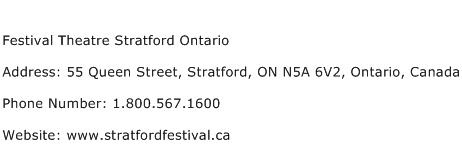 Festival Theatre Stratford Ontario Address Contact Number