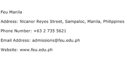 Feu Manila Address Contact Number