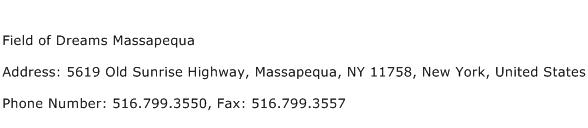 Field of Dreams Massapequa Address Contact Number