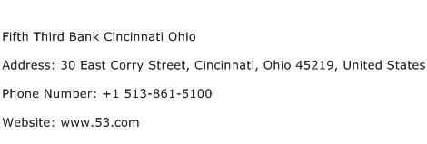Fifth Third Bank Cincinnati Ohio Address Contact Number