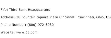 Fifth Third Bank Headquarters Address Contact Number