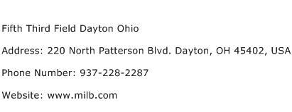 Fifth Third Field Dayton Ohio Address Contact Number