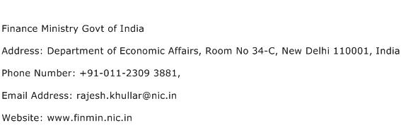 Finance Ministry Govt of India Address Contact Number