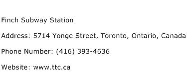 Finch Subway Station Address Contact Number