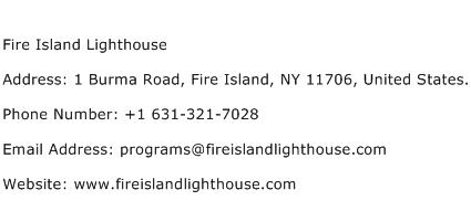 Fire Island Lighthouse Address Contact Number