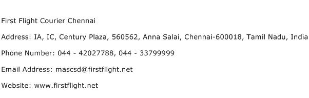 First Flight Courier Chennai Address Contact Number