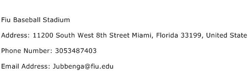 Fiu Baseball Stadium Address Contact Number