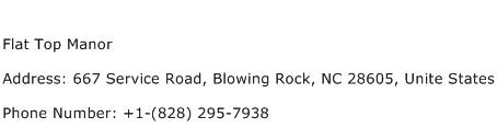 Flat Top Manor Address Contact Number