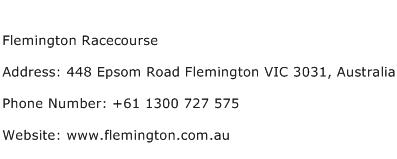 Flemington Racecourse Address Contact Number
