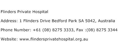 Flinders Private Hospital Address Contact Number
