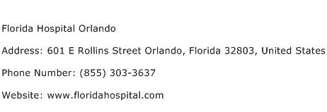 Florida Hospital Orlando Address Contact Number