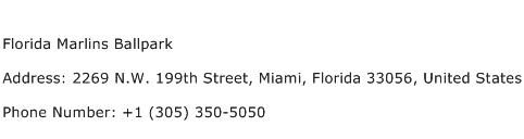 Florida Marlins Ballpark Address Contact Number