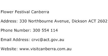 Flower Festival Canberra Address Contact Number