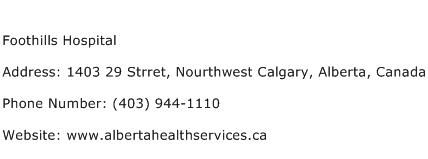 Foothills Hospital Address Contact Number