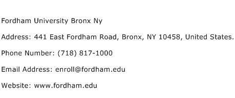 Fordham University Bronx Ny Address Contact Number