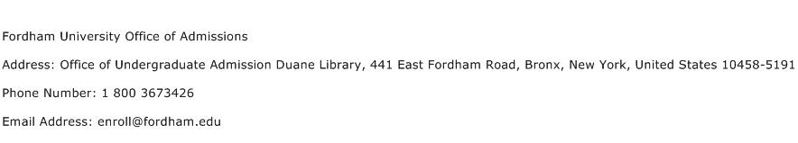 Fordham University Office of Admissions Address Contact Number