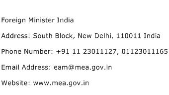 Foreign Minister India Address Contact Number