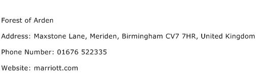 Forest of Arden Address Contact Number