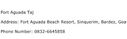 Fort Aguada Taj Address Contact Number