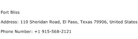 Fort Bliss Address Contact Number