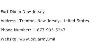 Fort Dix in New Jersey Address Contact Number