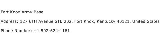 Fort Knox Army Base Address Contact Number