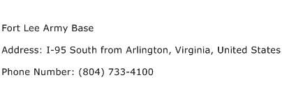 Fort Lee Army Base Address Contact Number