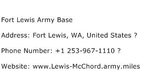 Fort Lewis Army Base Address Contact Number