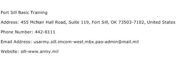 Fort Sill Basic Training Address Contact Number