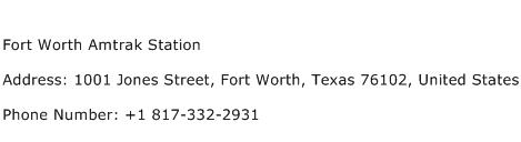 Fort Worth Amtrak Station Address Contact Number