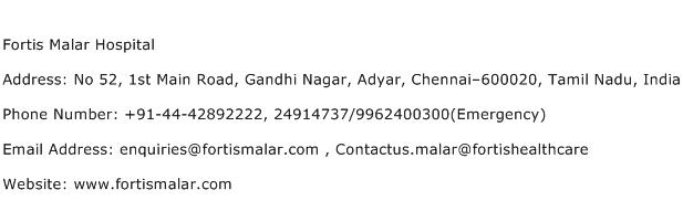 Fortis Malar Hospital Address Contact Number