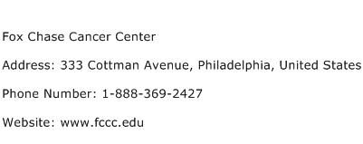 Fox Chase Cancer Center Address Contact Number