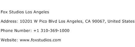 Fox Studios Los Angeles Address Contact Number